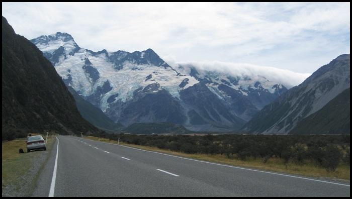 route vers le Mont Cook, Nouvelle-Zélande