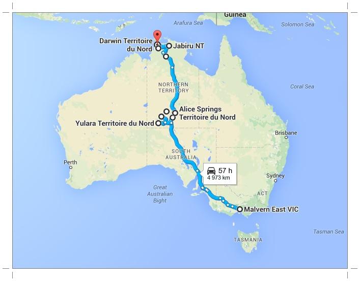 Traverser l'outback: trajet