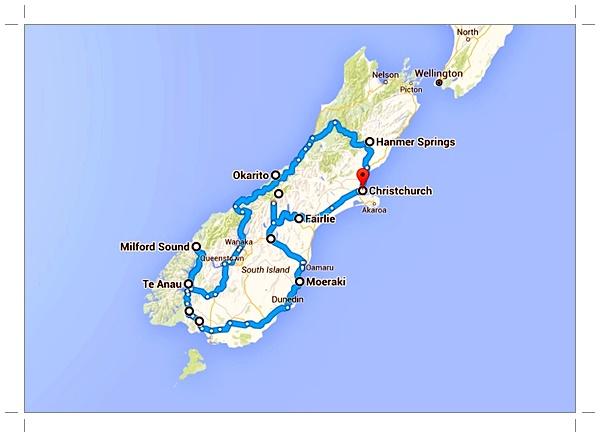 Trajet roadtrip en Nouvelle-Zélande
