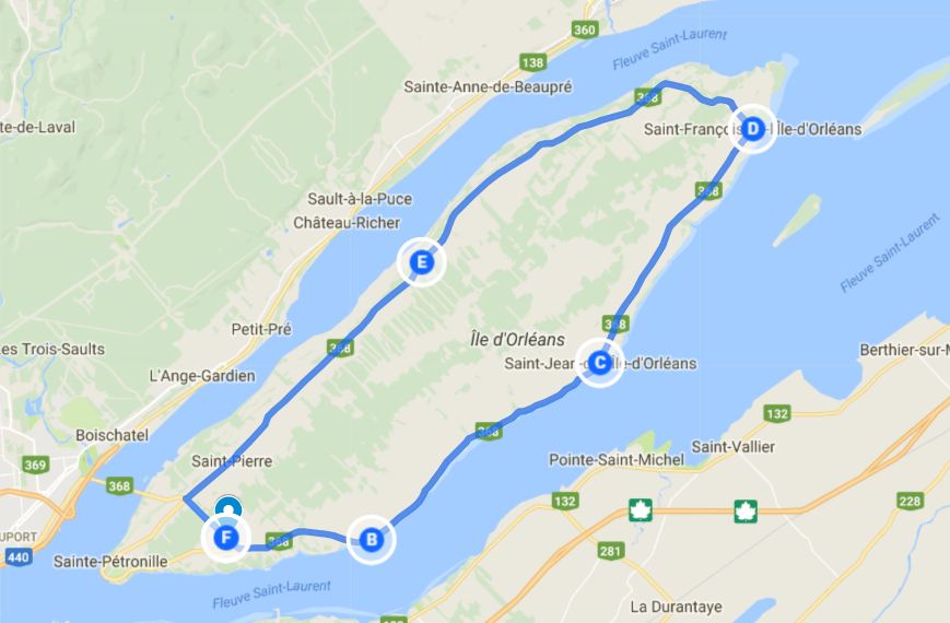 quebec original tours trajet île d'Orléans