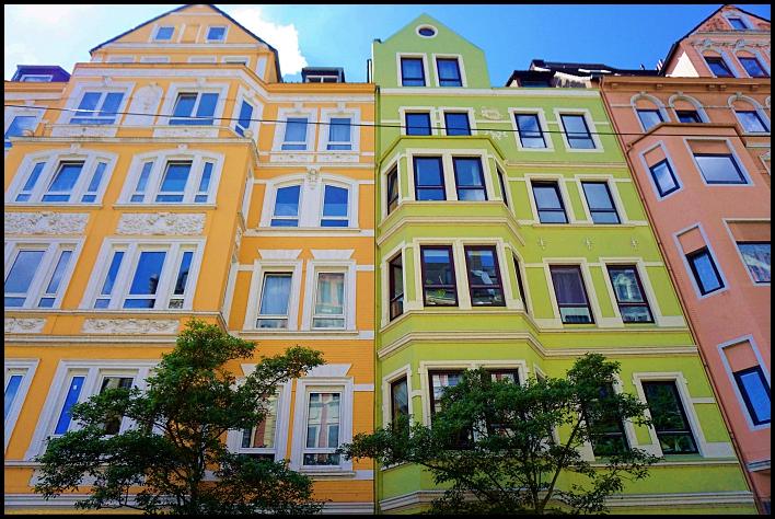 Bremerhaven, Allemagne, maisons colorées