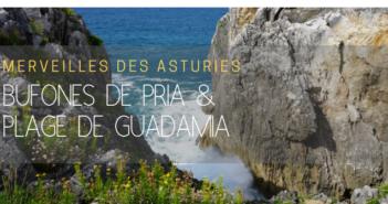Bufones de pria et plage de Guadamia, Asturies, Espagne