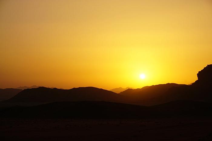 Coucher de soleil sur le wadi rum